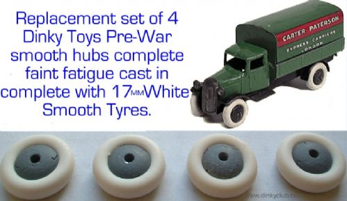 4 Dinky Toys replica smooth Pre-War hubs with 17mm White tyres (Price is for a set of 4)